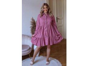 Krátke košeľové šaty s dlhým rukávom a zlatým vzorom - fialovo ružová