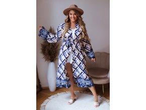 Dlhé vzorované kimono v modrej