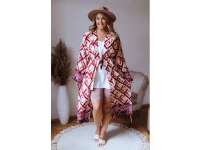 Dlhé vzorované kimono v červenej