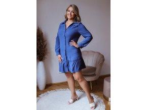 Krátke košeľové šaty s volánom a dlhým rukávom - modrá
