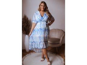 Dlhé asymetrické bielo-modré šaty
