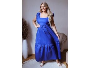 Modré šaty so zaväzovaním na chrbte