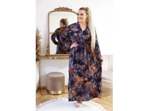 Dlhé vzorované šaty s gumičkou v páse - tmavo modrá
