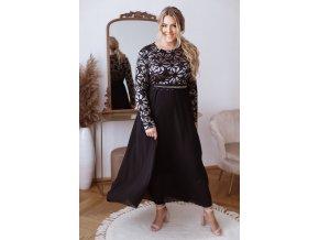Dlhé spoločenské šaty s čipkovaným vrchom a opaskom - čierna