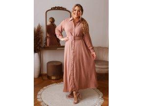 Dlhé elegantné košeľové šaty so štrukturovanou látkou a opaskom - staro ružová