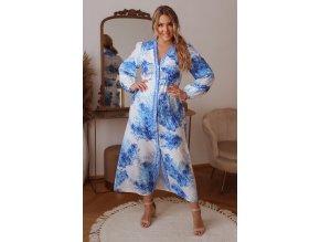 Dlhé bielo-modré košeľové šaty