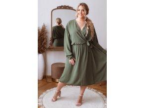 Khaki zelené šaty so zavinovacím efektom