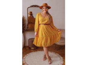 Voľné šaty v midi dĺžke s dlhým rukávom v horčicovej farbe
