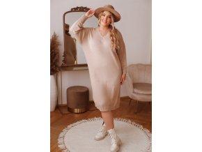 Svetrové šaty v midi dĺžke v béžovej