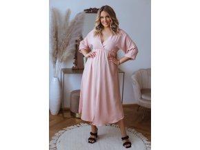 Dlhé šaty s rázporkom a krátkym rukávom - svetlo ružová