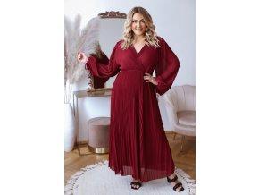 Dlhé elegantné plisované šaty v bordovej