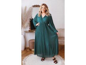 Dlhé elegantné plisované šaty v zelenej