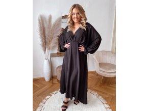 Dlhé elegantné čierne šaty s dlhým rukávom