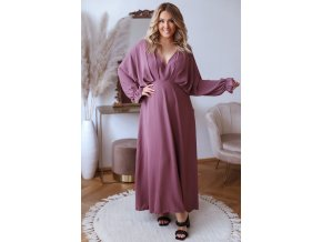 Dlhé elegantné bledo fialové šaty s dlhým rukávom