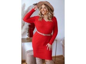 Svetrové šaty s dlhým rukávom v červenej