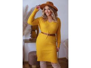 Svetrové šaty s dlhým rukávom v horčicovo žltej
