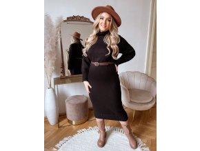 Rolákové svetrové šaty v midi dĺžke v čiernej farbe
