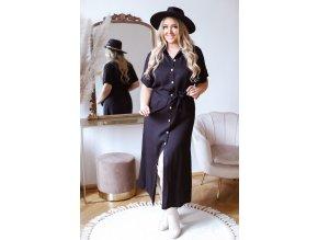 Dlhé čierne košeľové šaty s krátkym rukávom