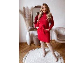Rolákové svetrové šaty s vreckami v červenej farbe