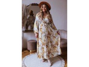 Dlhé kvetinové šaty s plisovanou sukňou