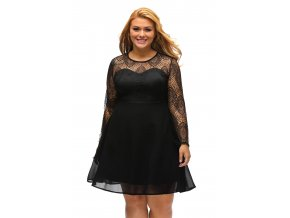 Black Boohoo Plus Size Lace Top Skater Dress LC22870 2 3