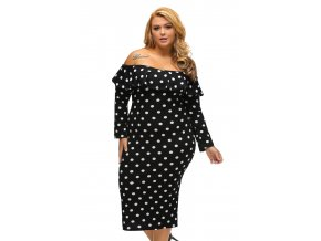 Black Polka Dot Ruffle Off shoulder Neckline Long Sleeves Dress LC61220 2 8