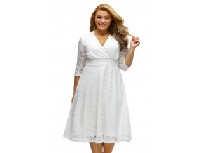 White Plus Size Surplice Lace Formal Skater Dress LC61442 1 1