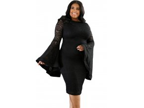 Black Plus Size Bell Sleeves Lace Dress LC61396 2 1