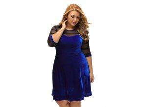 Plus Size Mesh Insert Blue Velvet Swing Dress LC61329 5 4