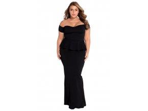 Čierne dlhé šaty s odhalenými ramenami