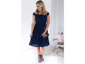 Blue Scalloped Off Shoulder Flared Lace Dress LC61446 5 1