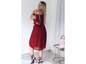 Wine Scalloped Off Shoulder Flared Lace Dress LC61446 3 1