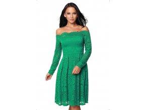 Čipkované šaty s odhalnými ramenami v zelenej