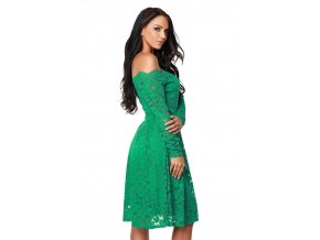 Green Long Sleeve Floral Lace Boat Neck Cocktail Swing Dress LC61427 9 1