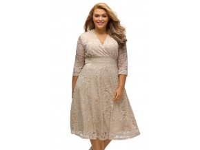 Apricot Plus Size Surplice Lace Formal Skater Dress LC61442 18 1