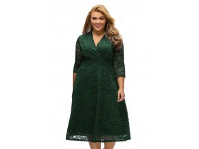 Olive Plus Size Surplice Lace Formal Skater Dress LC61442 9 1