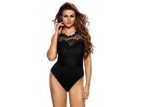 Black Lace High Neck Cut Out Back Bodysuit LC32050 2 5