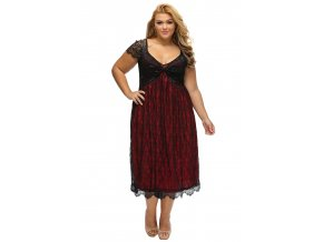 Elegant Lace Embellished Red Plus Size Dress LC61268 3 8