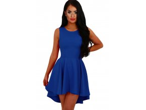 Royal Blue Pleated Hi low Hem Sleeveless Skater Dress LC22989 5 1