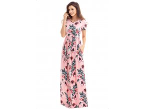 Letné ružové dlhé šaty