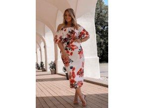Kvetinové elegantné šaty s odhalenými ramenami