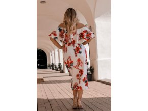 Floral Layered Ruffle Off Shoulder Midi Dress LC61611 22 4