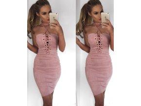 Svetlo ružové semišové šaty
