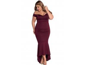 Maroon Off shoulder Mermaid Jersey Evening Dress LC60171 1 7