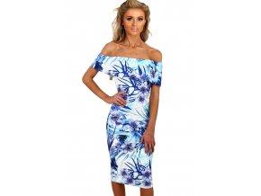 Blue and White Floral Bardot Bodycon Midi Dress LC61536 4 1