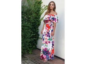 Dlhé farebné kvetinové šaty