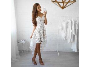 Asymetrické biele šaty na ramienka