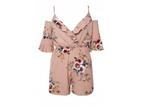 Apricot Multi Floral Ruffle Wrap Cold Shoulder Playsuit LC64278 21 6