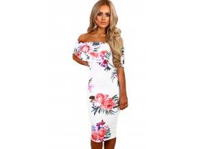 White Multi Floral Bardot Midi Dress LC61536 1 1