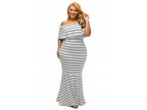 Dlhé šaty s odhalenými ramenami v bielo sivej